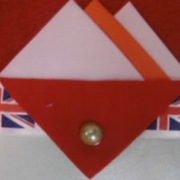 White, Orange and Red Hankie With Red Flap and Pin